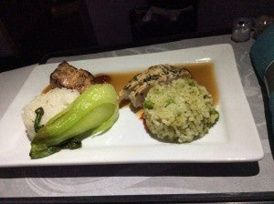 My two (count 'em, two) entrees aboard my Hawaiian flight