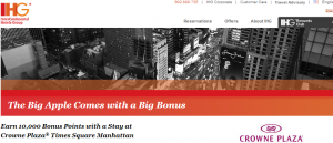 Get 10,000 IHG bonus points for an award stay at the Crowne Plaza Times Square in NY.