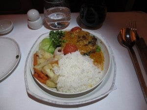 Meal service aboard Singapore's all-business-class