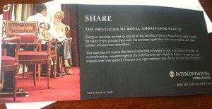 TPG's InterContinental Royal Ambassador invitation from 2011
