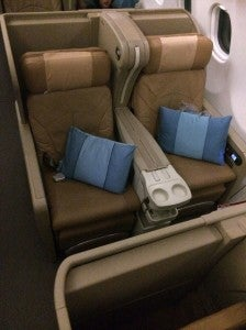 My business class seat aboard Singapore's A330