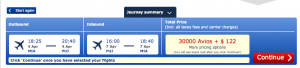 Miami to Punta Cana in business class for 30,000 Avios and $122.