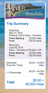 May 31-June 5 roundtrip PDX-HNL