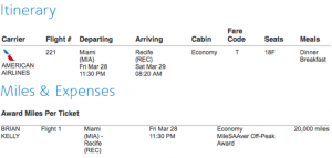 20,000 AA miles for Miami to Recife? Yes please!