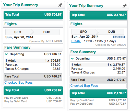 One-way economy and business options for Aer Lingus from SFO to DUB