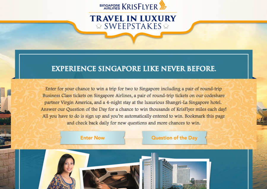 "The home page for Singapore Airlines ""Travel in Luxury"" sweepstakes features two buttons: Enter Now and Question of the Day"