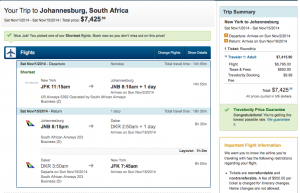 Using US miles to get to South Africa can be a great value.