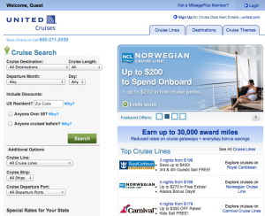 Airlines like United also offer bonus miles and other perks on cruises.