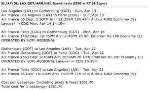 Options from a recent FlyerTalk post featuring $561+ flight options