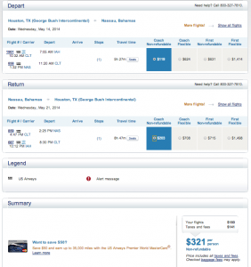 IAH-NAS - May 14-21, 2014 - US Airways - $321