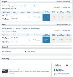 IAH-NAS - May 14-21, 2014 - US Airways - $321