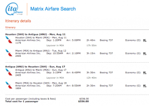 IAH-MIA-ANU on American from August 11-17, 2014 for $336 (found on ITA Matrix)