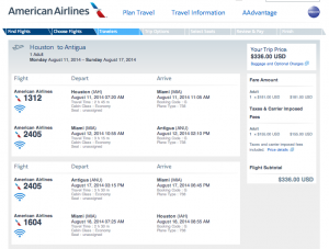 IAH-MIA-ANU on American Airlines, August 11-17, 2014 for $336