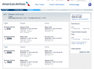 EWR-MIA-UVF - September 3-11, 2014 on American for $296.90