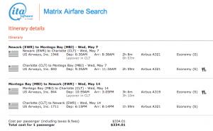 EWR-MBJ - May 7-14, 2014 on US Airways (as found on ITA Matrix) for $334.01