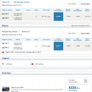EWR-MBJ - May 7-14, 2014 - found on US Airways' site for $335