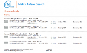 IAH-NAS - May 14-21, 2014 on US Airways via ITA Matrix - $321