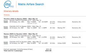 IAH-NAS - May 14-21, 2014 on US Airways via ITA Matrix - $321