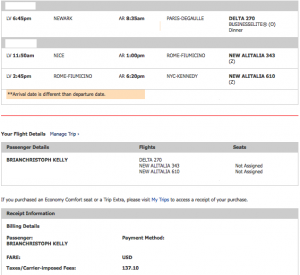 My business class itinerary - 100,000 miles + $137.