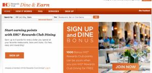 Hotel chains like IHG also offer dining rewards.