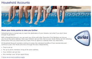British Airways Household Accounts allow a family of up to 7 people pool their miles