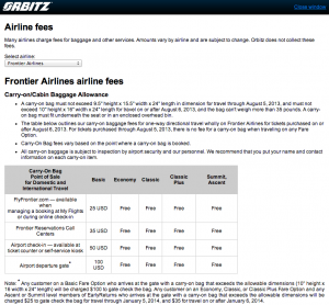 Orbitz's chart of Frontier baggage fees - showing the at-gate check-in price of $100 per bag