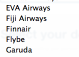 Travelocity doesn't list Frontier as an airline choice