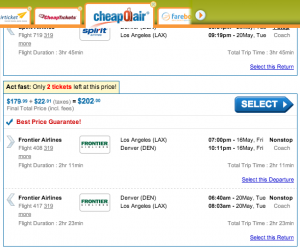 CheapOAir shows Frontier's flights, but makes no up-front mention of its fees