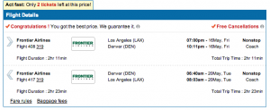 "On the second step of booking a Frontier flight on CheapOAir, two links show up at the bottom left, one of which is ""Baggage fees"""