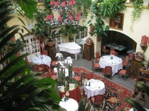 The courtyard at the Stikliai hotel.