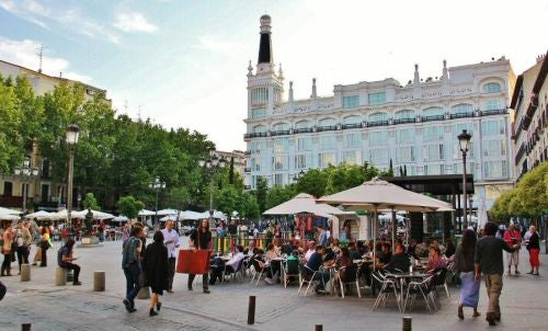 The bustling terrace bars in Plaza Santa Ana, including Lateral.