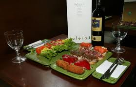 The tasting platter with the house wine, LAN Rioja.