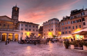 The beautiful Trastevere neighborhood.