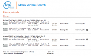 DFW-AUA on US Airways - April 30-May 7, 2014 - $298