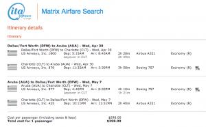 DFW-AUA on US Airways - April 30-May 7, 2014 - $298
