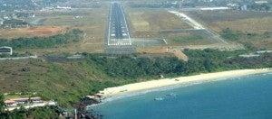Dabolim's main runway is right beside the Arabian Sea