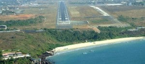 Dabolim's main runway is right beside the Arabian Sea