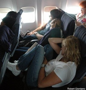 """No imagine me at 6'7"""" trying to cramp into one of these seats to sleep..."""