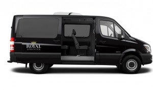 One of two customized, 8-seat Royal Sprinter vans