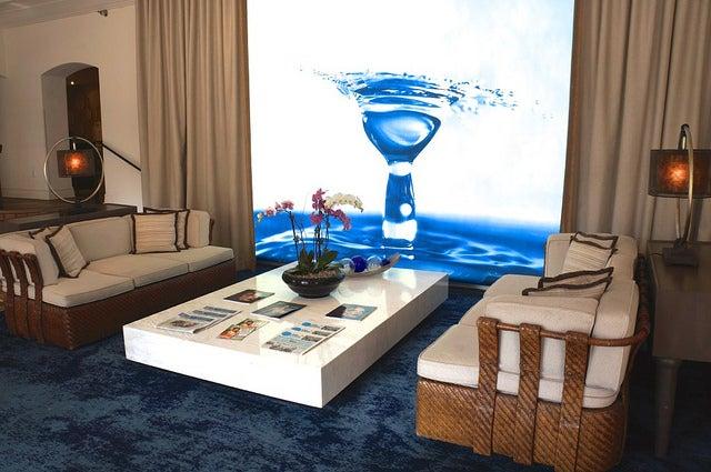 The decor in the Blue Moon lobby has both a beachy and artsy vibe