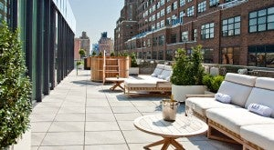 The rooftop lounge and hot tub at Dream Downtown in new York's Meatpacking District