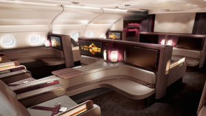 The first class A380 cabin on Qatar.