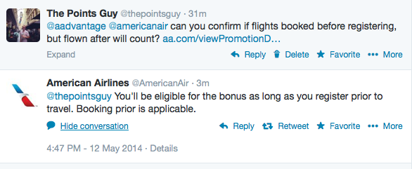 AA confirms that travel booked prior to registration, but flown after (and within promo period) will count