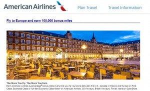 Get bonus AAdvantage miles for flying to Europe.