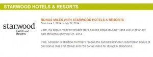 Get bonus Aeroplan miles with Starwood stays