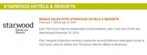 Get bonus Aeroplan miles with Starwood stays