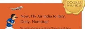 Double miles on Air India to Italy