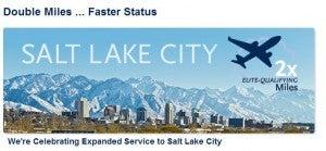 Earn double elite qualifying miles on Alaska flights to/from Salt Lake City