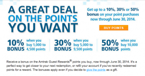 50% bonus on purchased Amtrak points