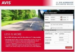 Get 30% off Avis rentals and 5x US Airways miles